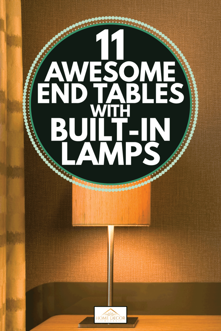 Modern lamp built in on an end table in brown, 11 Awesome End Tables With Built-In Lamps