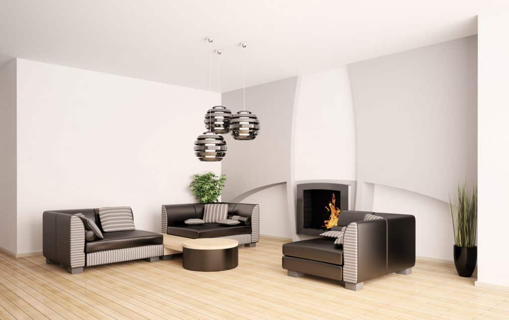 Modern living room with fireplace interior