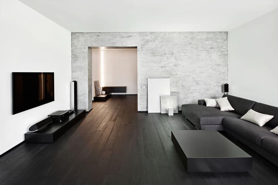 Modern minimalism style black-room interior, 17 Beautiful Black Living Room Floor Ideas