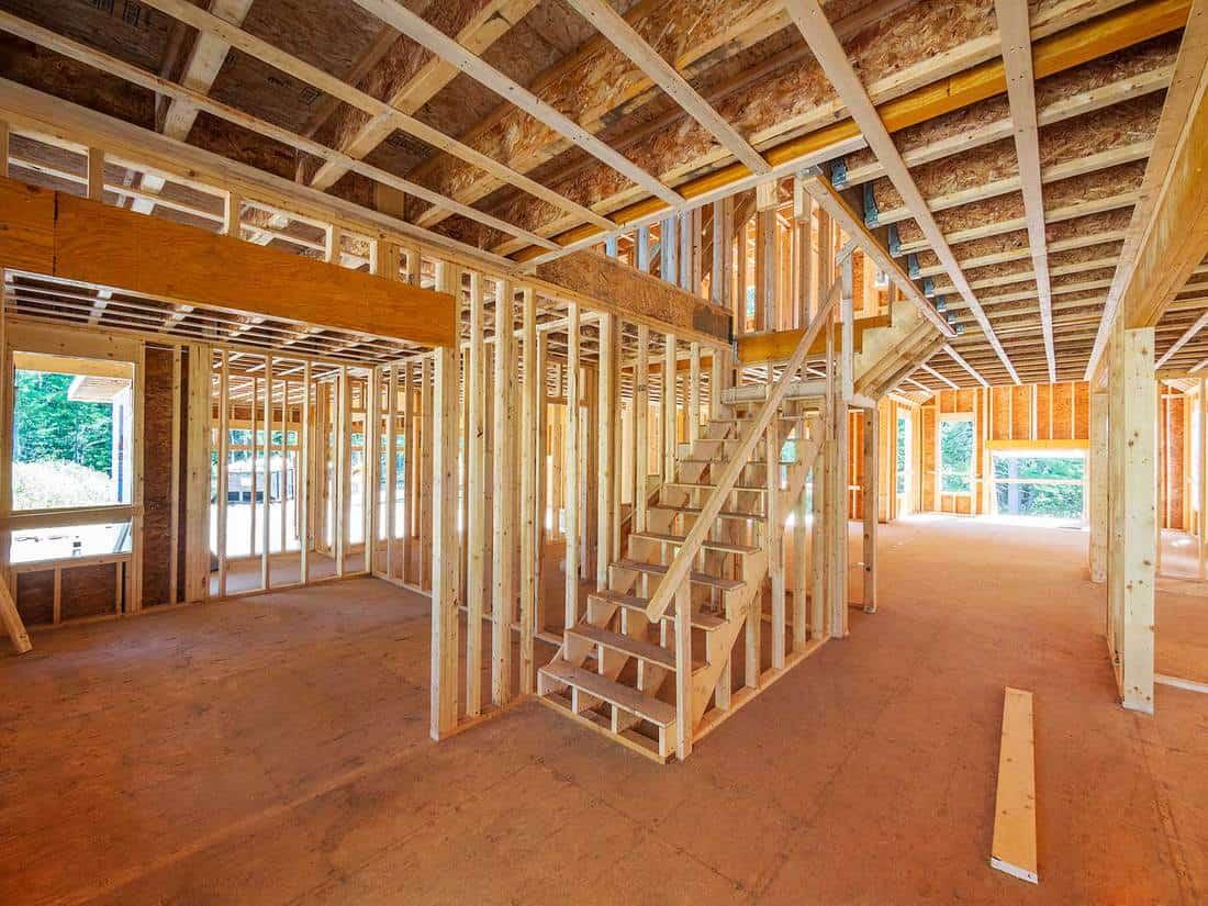 New house construction interior framing