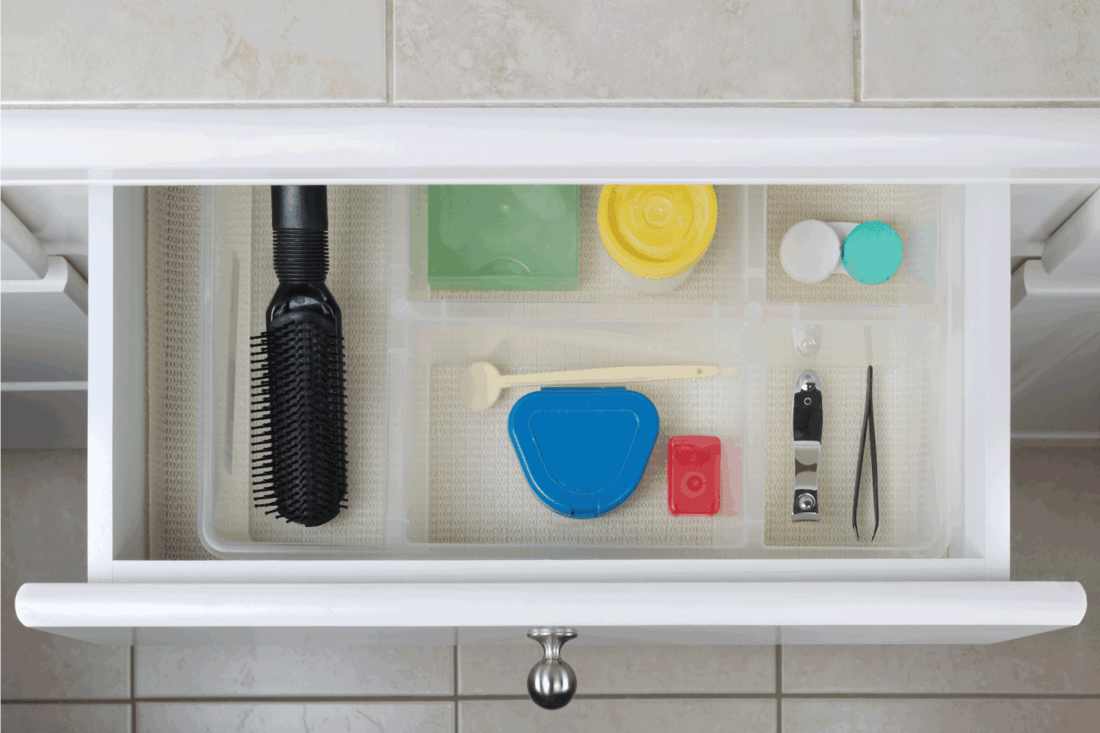 Organized Bathroom Drawer with liner