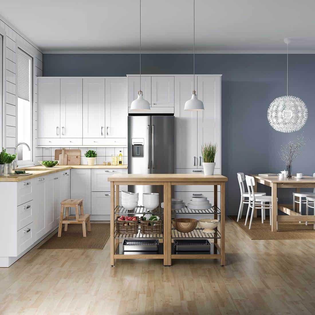 Scandinavian kitchen interior with wooden furniture