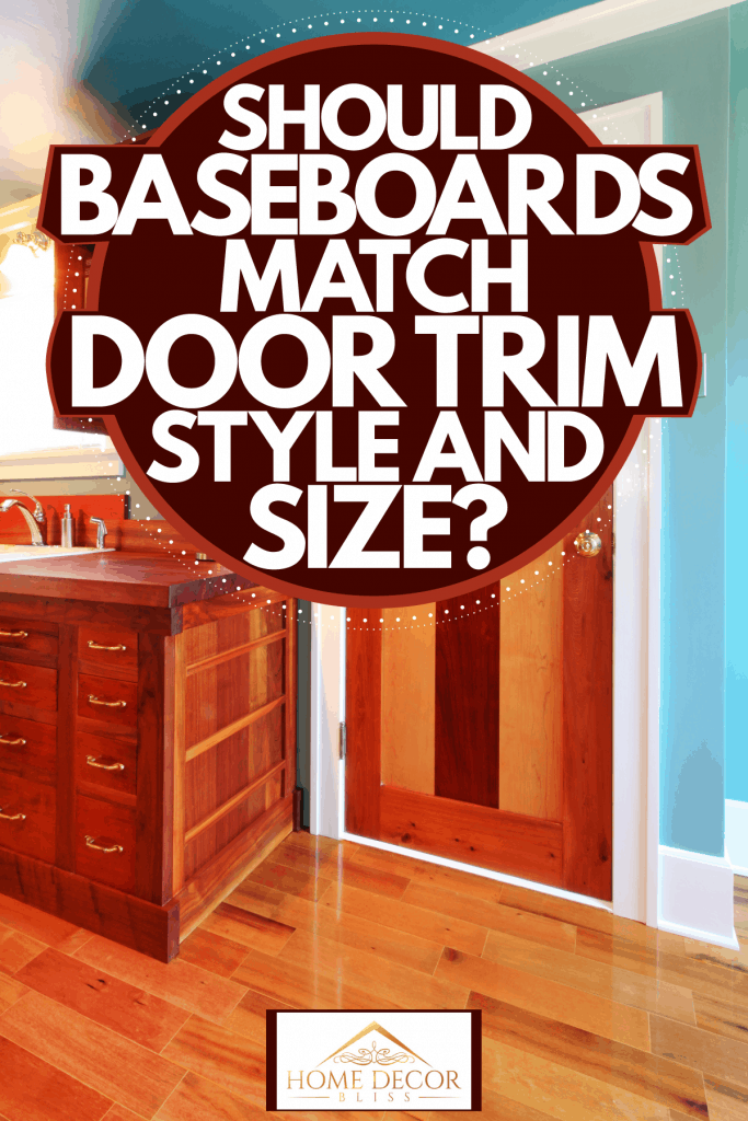 A rustic inspired living room with a wooden bar and a hard wood door, Should Baseboards Match Door Trim Style And Size?