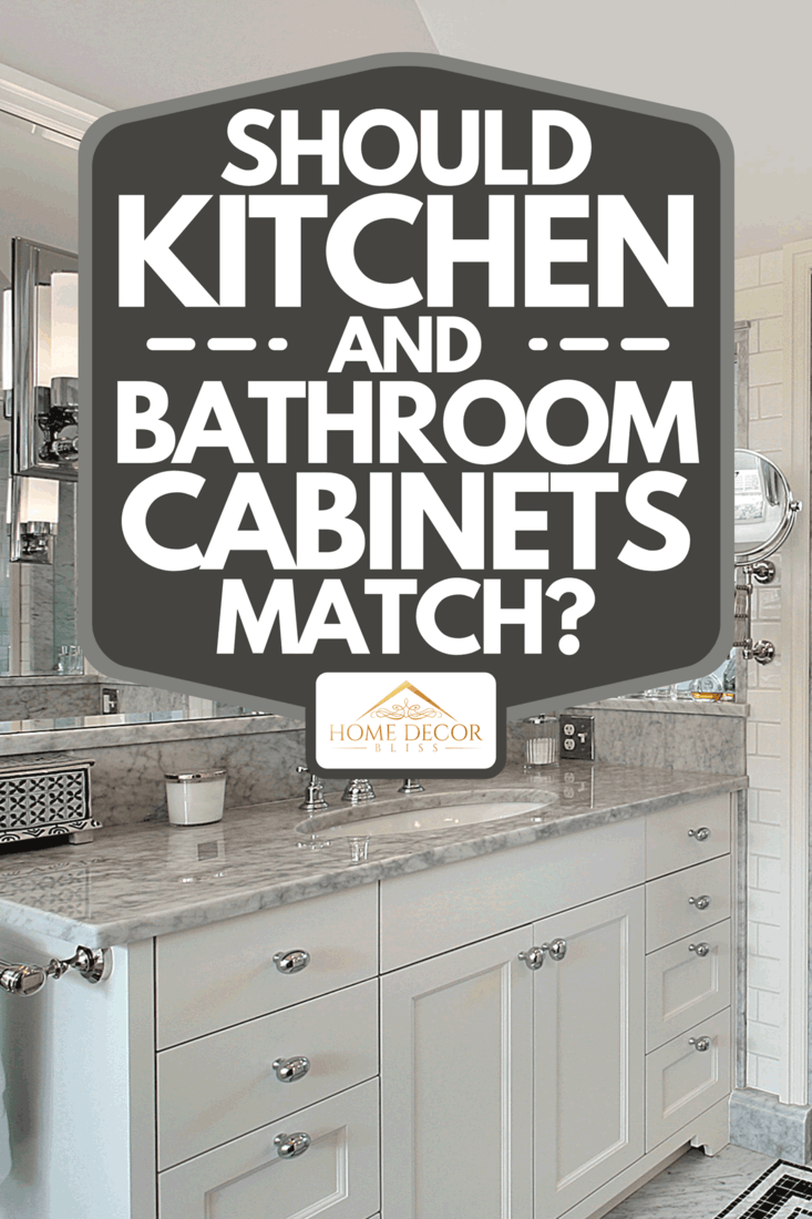 A master bath with windowed shower and cabinets, Should Kitchen And Bathroom Cabinets Match?