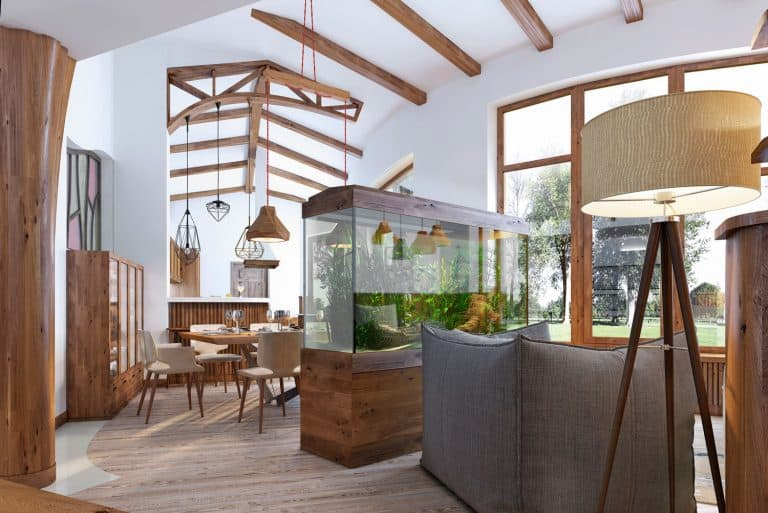 View from the hallway into the living room with an aquarium in the loft style. A large aquarium with a chair and a floor lamp in the living room. Wooden beams on the ceiling, 9 Types of Wood Framing To Know