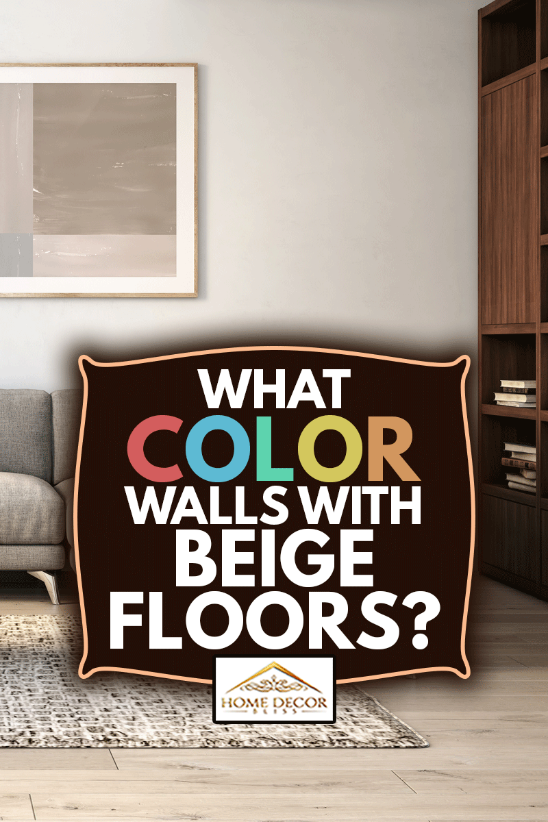 Scandinavian interior design living room with gray and beige colored furniture and wooden elements, What Color Walls Go With Beige Floors?