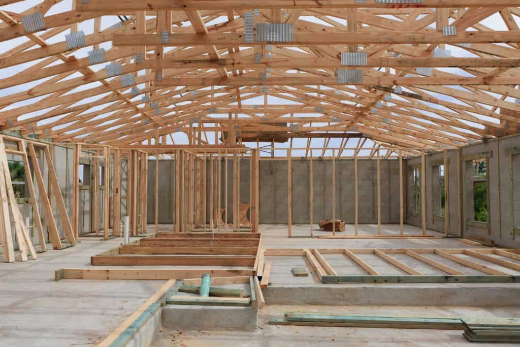 Wood framing of an unfinished house