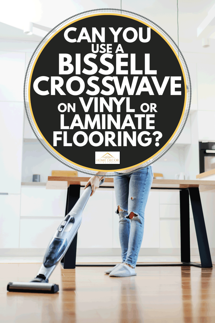 caucasian blonde housewife using bissell crosswave to clean floor in living room. Can You Use A Bissell Crosswave On Vinyl Or Laminate Flooring