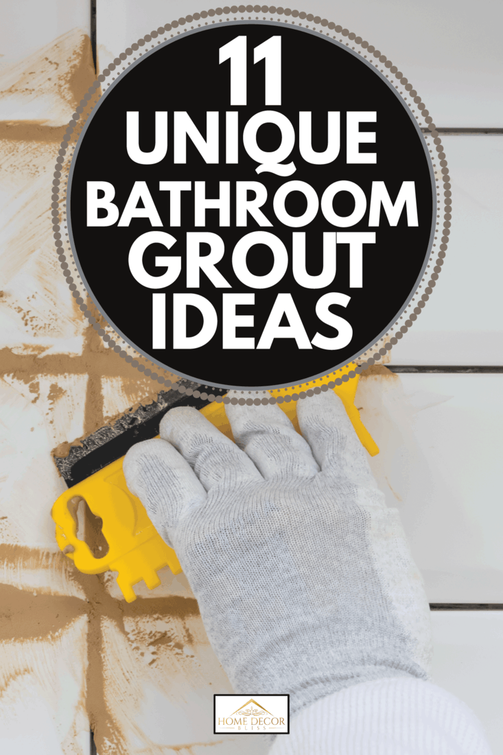 close-up of a hand in a protective glove holding a yellow spatula, in the process of grout of white tiles, light brown sealant. 11 Unique Bathroom Grout Ideas