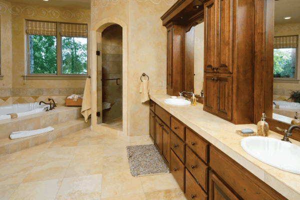 What Color Bathroom Cabinets And Vanity Go With Beige Tile?