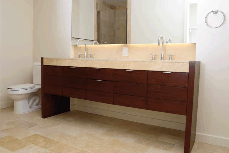 modern bathroom with two sinks and large vanity mirror. What Size Vanity Do You Need For 2 Sinks