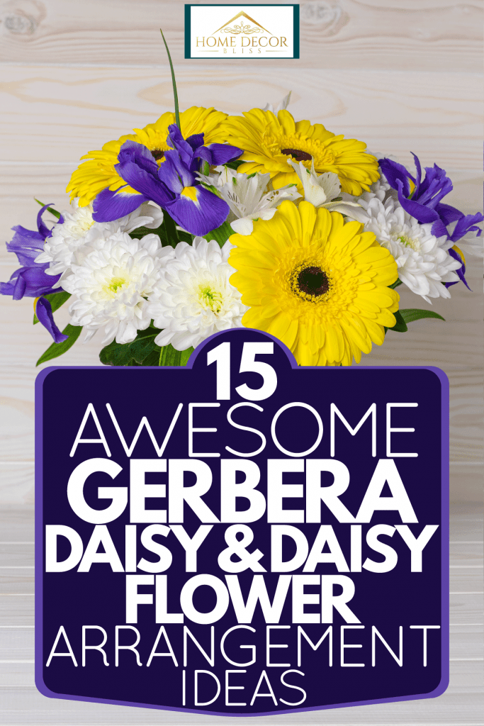 Arrangement of beautiful bright flowers using orchids, chrysanthemums, and yellow gerbera flowers on a glass vase, 15 Awesome Gerbera Daisy & Daisy Flower Arrangement Ideas