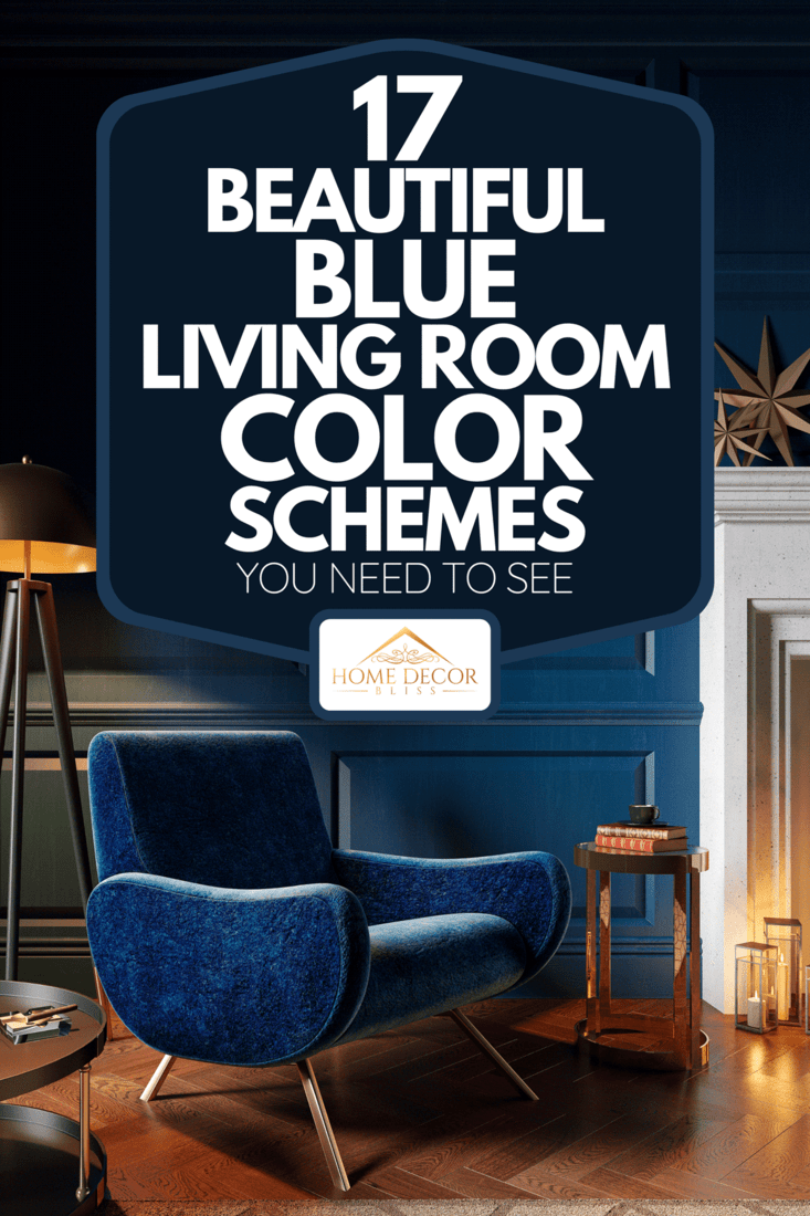 Classic royal blue color interior with armchair, fireplace, candle, floor lamp and carpet, 17 Beautiful Blue Living Room Color Schemes You Need To See