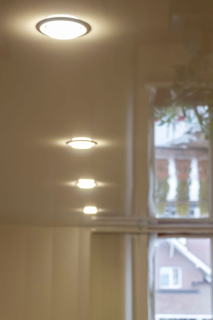 A detailed photo of recessed lighting inside a living room