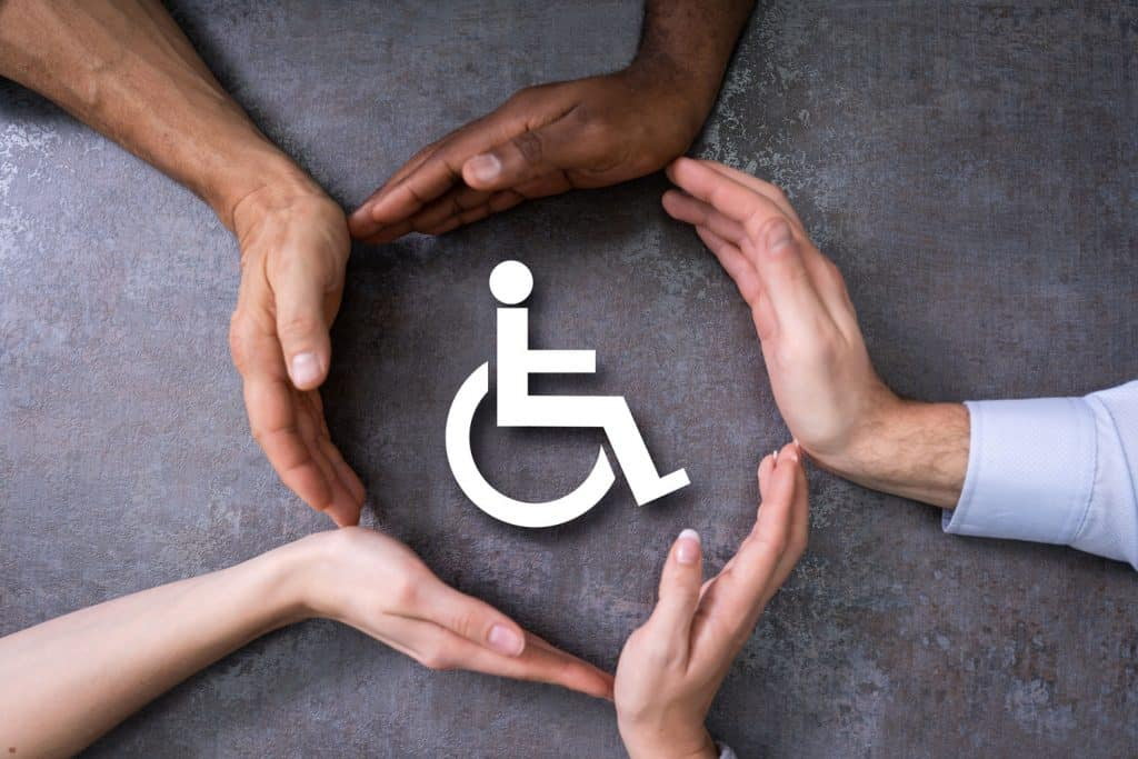 A handicap sign on the wall