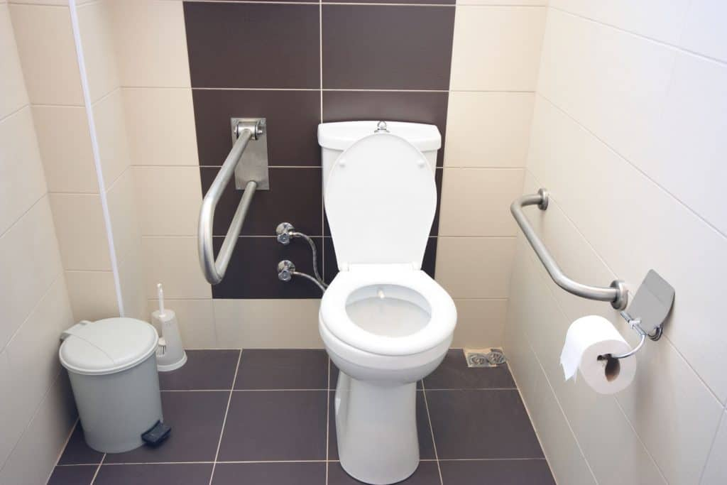 A white colored toilet with dark maroon colored tiles and white painted walls