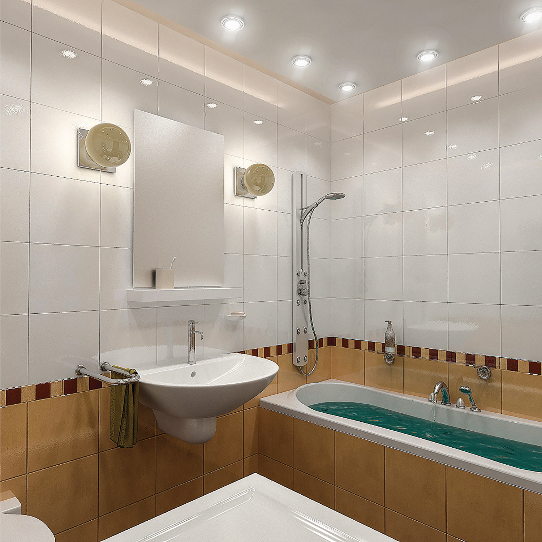 Bathroom minimalist interior design with shower, bathtub, sconces, recessed lighting