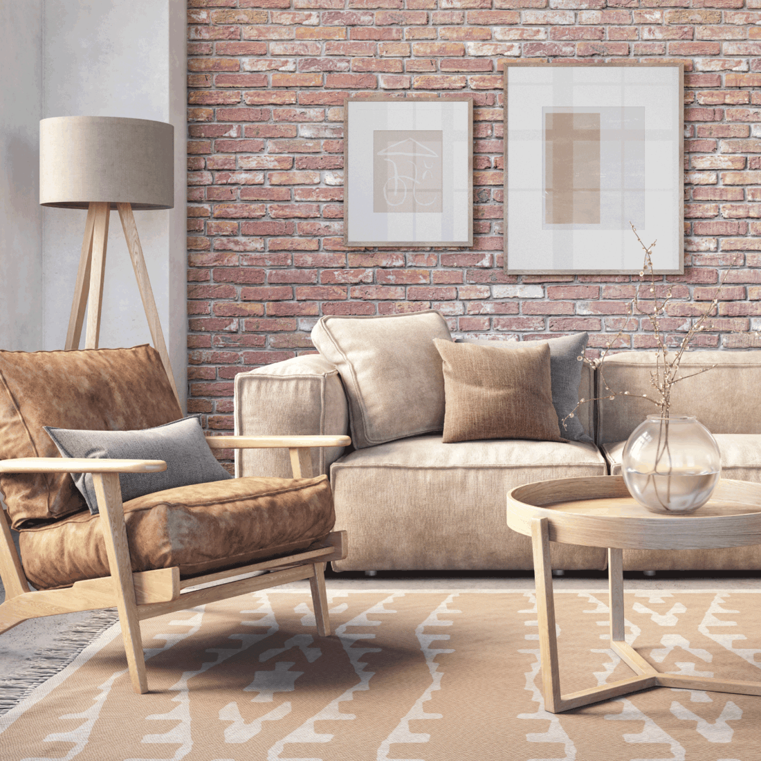 Bohemian living room interior with beige colored furniture and wooden elements and brick wall