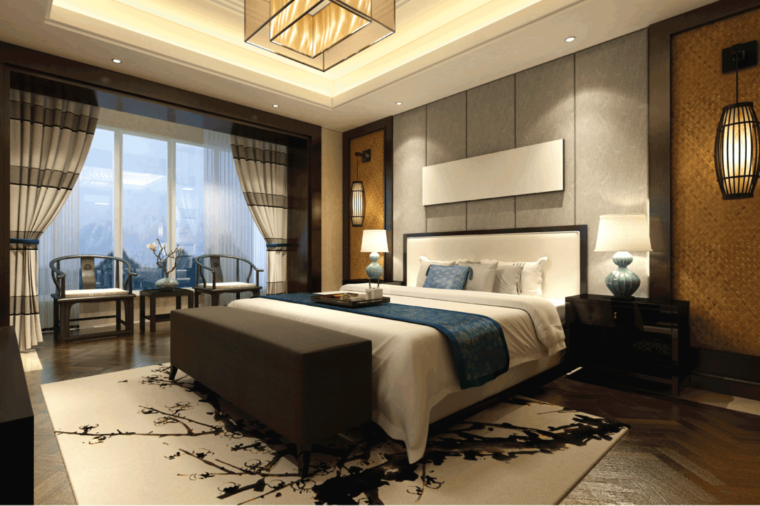 Chinese style designed bedroom interior with Hints Of The East