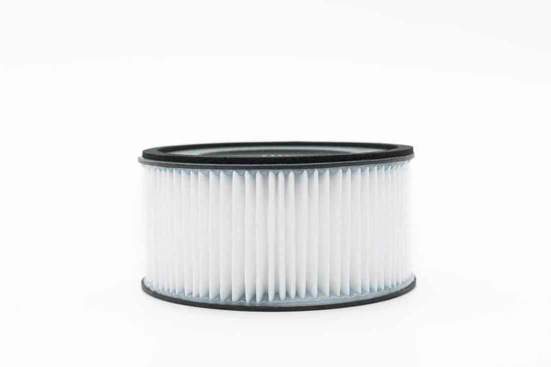Close-up view of the hepa filter isolated on the white background