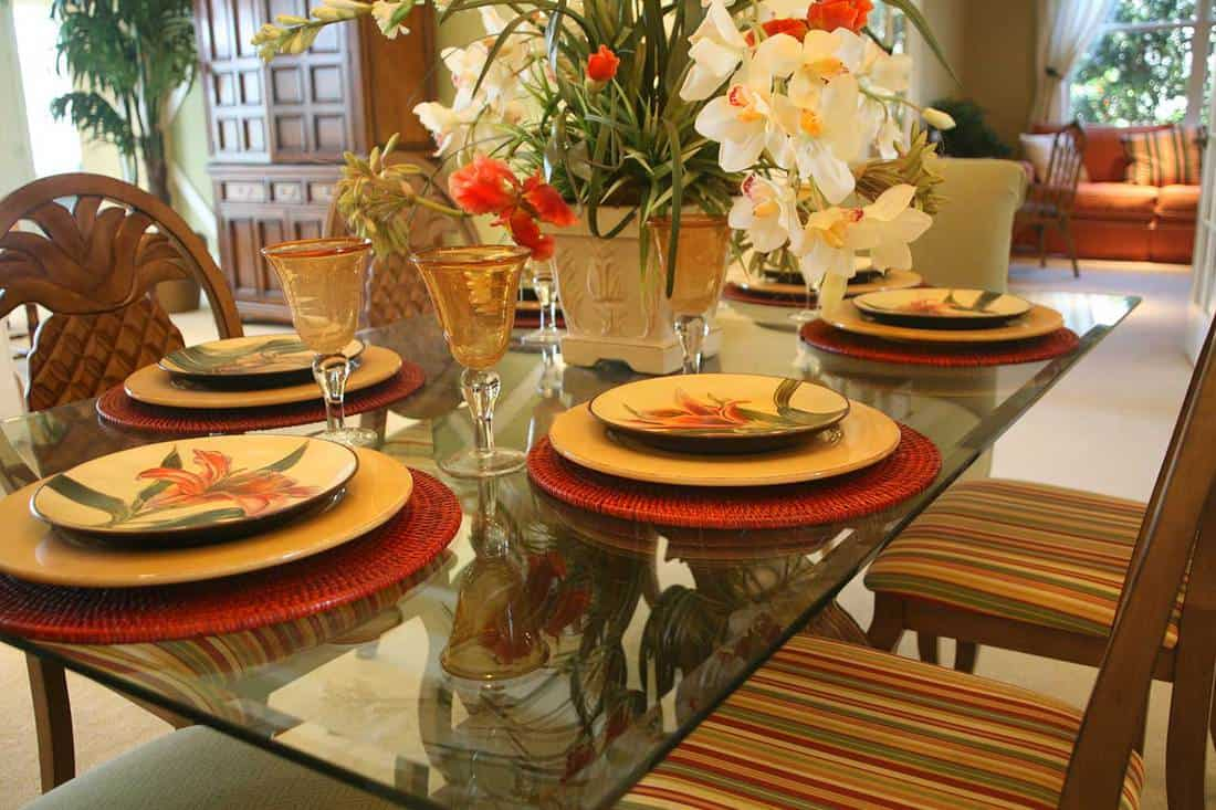 Dining room glass table set