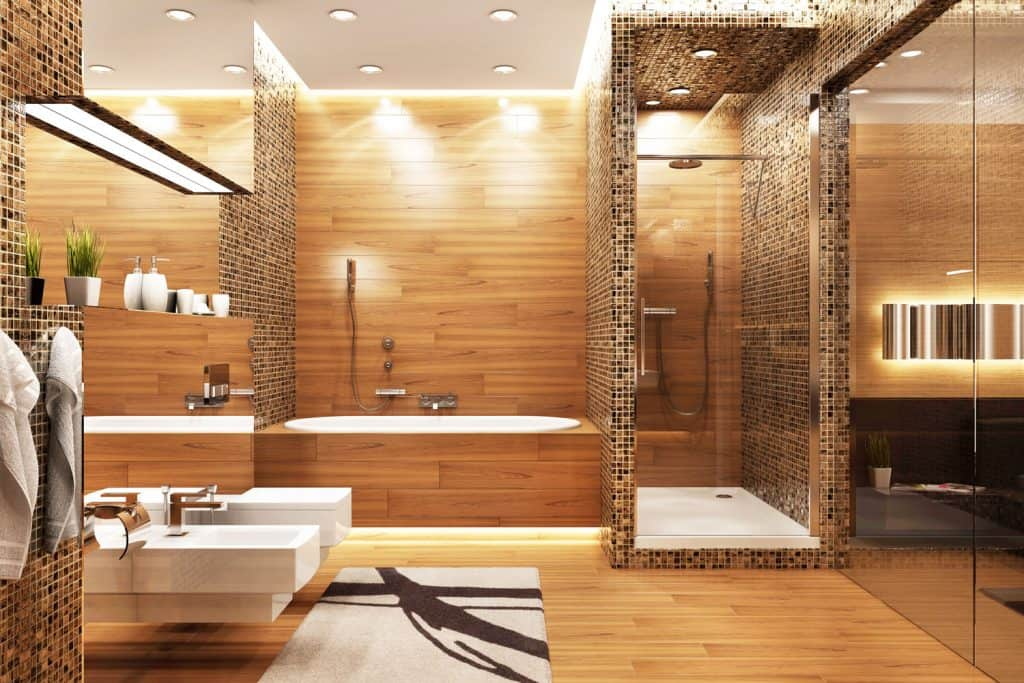 Elegant and stunning interior of a bathroom with a huge mirror on both sides and a wooden backsplash on the shower area