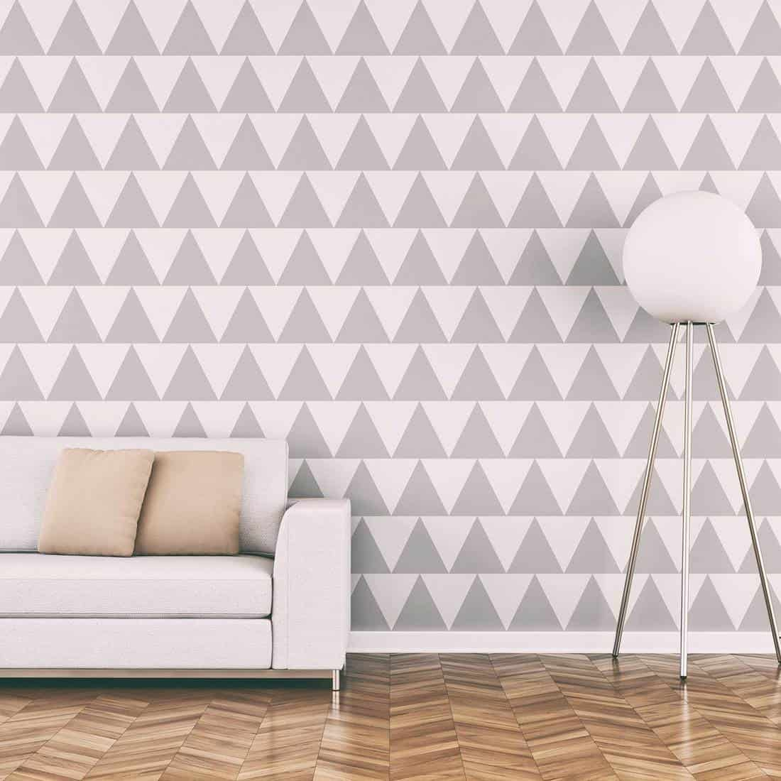 Elegant living room 50's style with sofa wallpaper background