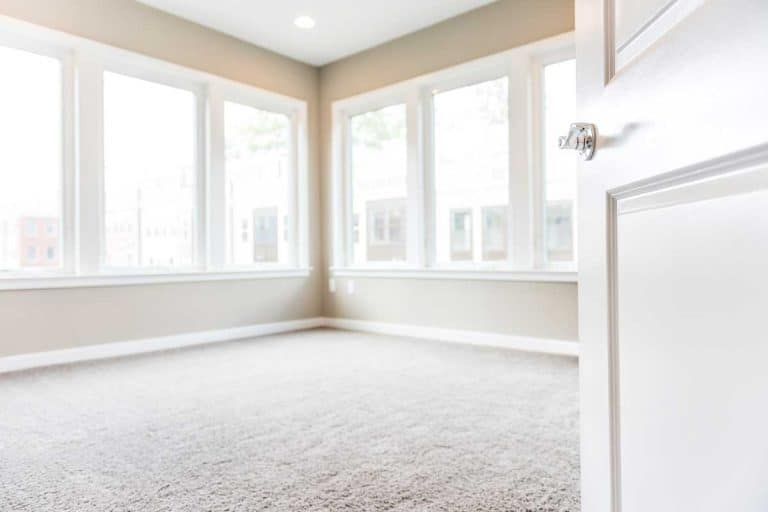 Empty bedroom entrance in new modern apartment with large windows and carpet, Should You Upgrade Carpet In A New Home?