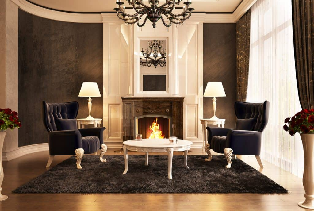 Fireplace room design in big beautiful house