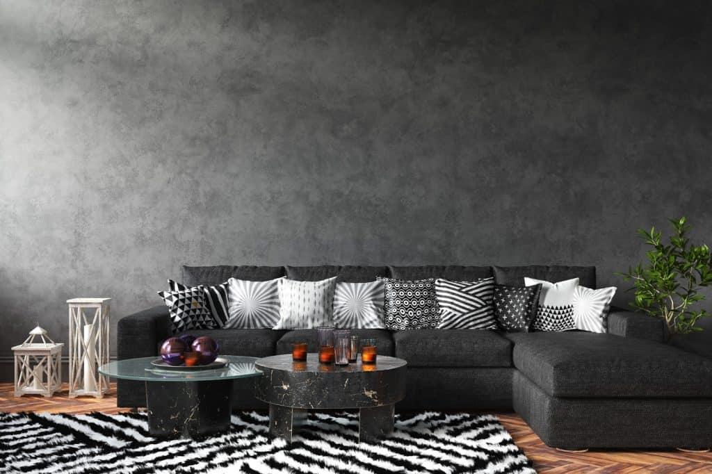 Home interior with sofa and decor, black stylish loft living room