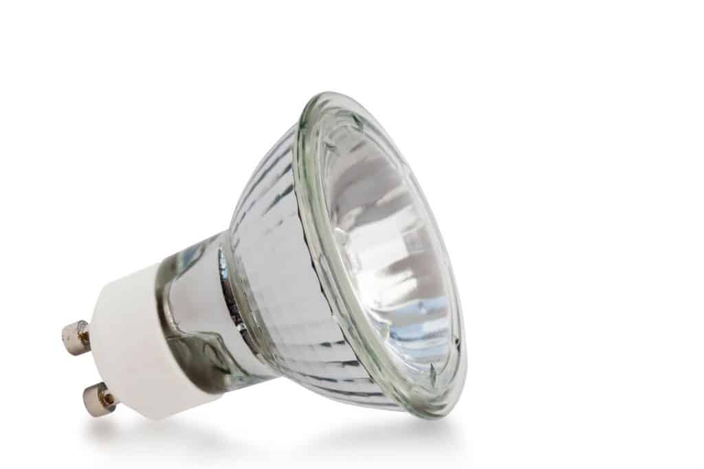 Incandescent light on a white background