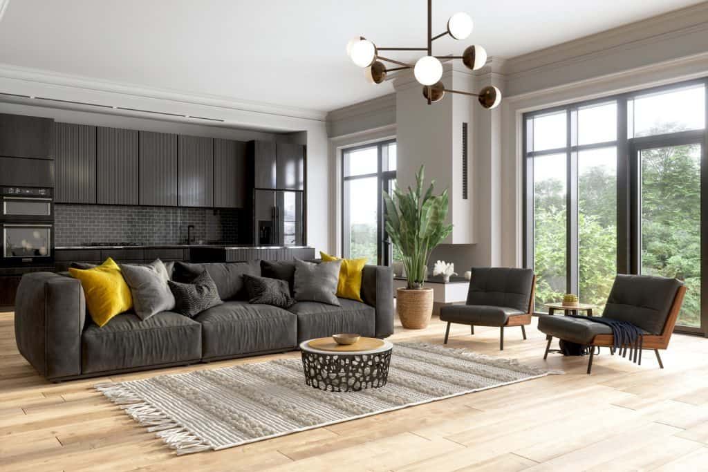 Interior Of Modern Living Room With Black Color Sofa, Armchairs, Potted Plant And Open Plan Kitchen.