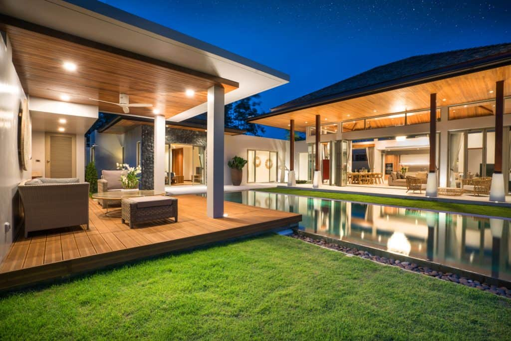 Interior and exterior design of pool villa with swimming pool of the house or home building