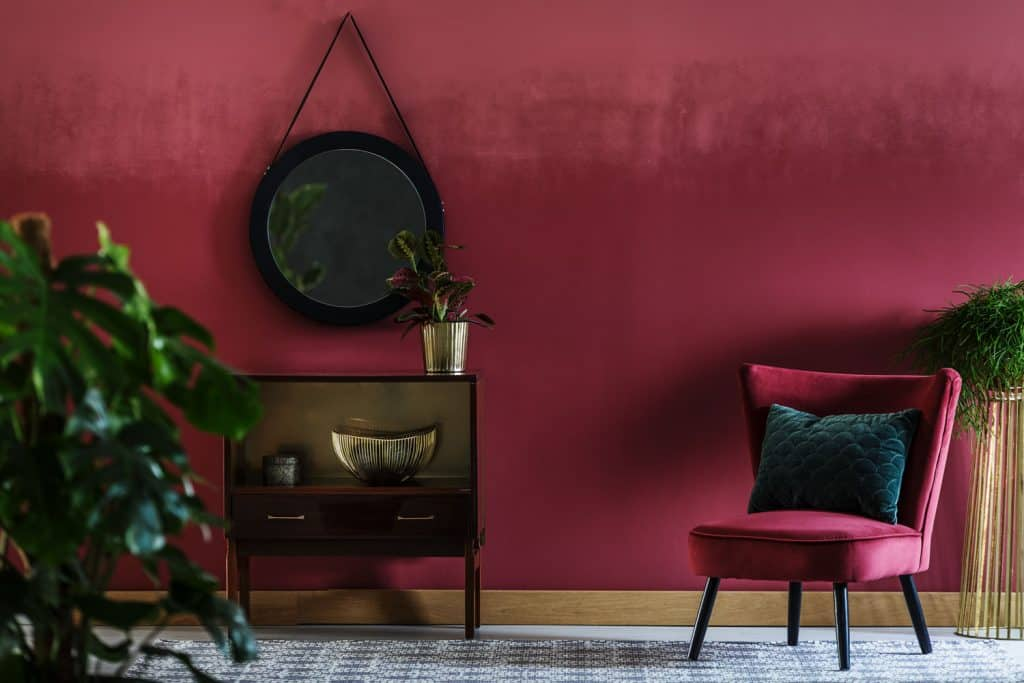 Interior of a gorgeous burgundy colored living room with similar contrasting colored and indoor plants
