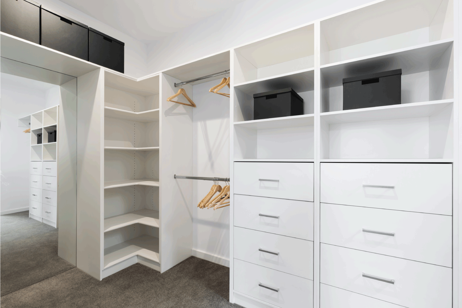 Large walk in wardrobe cabinetry detail in new home. How To Make Use Of A Closet With A Sloped Ceiling