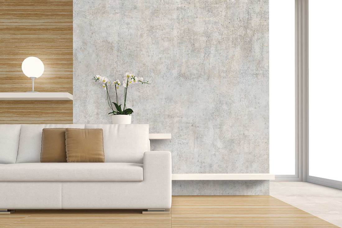 Living room with sofa and decoration on hardwood floor in front of gray plaster wall