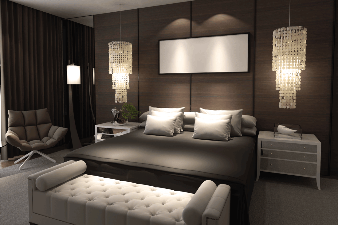 Luxury designed bedroom interior with Dramatic Spotlight