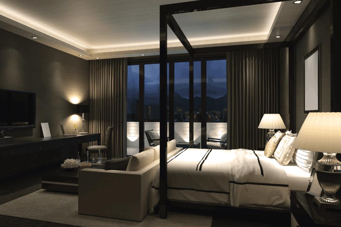 Luxury designed bedroom interior with Multi-Level Lighting