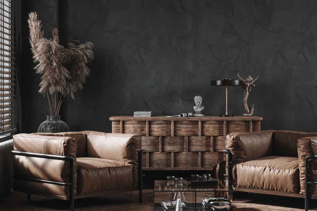 Modern industrial interior with leather furniture, luxury office