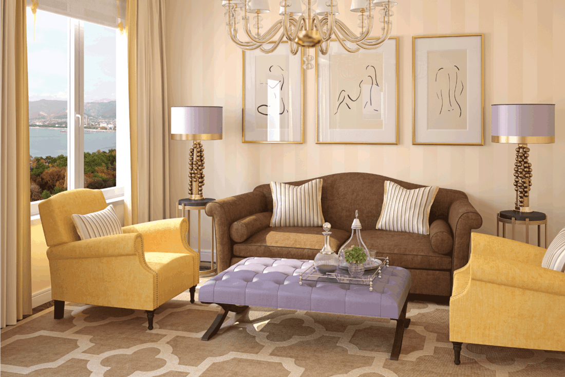 Modern living-room interior in brown, lavender, and yellow