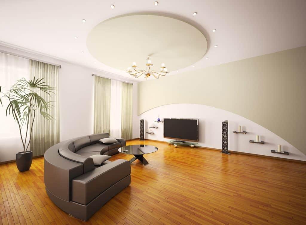 Modern living room interior with futuristic furniture