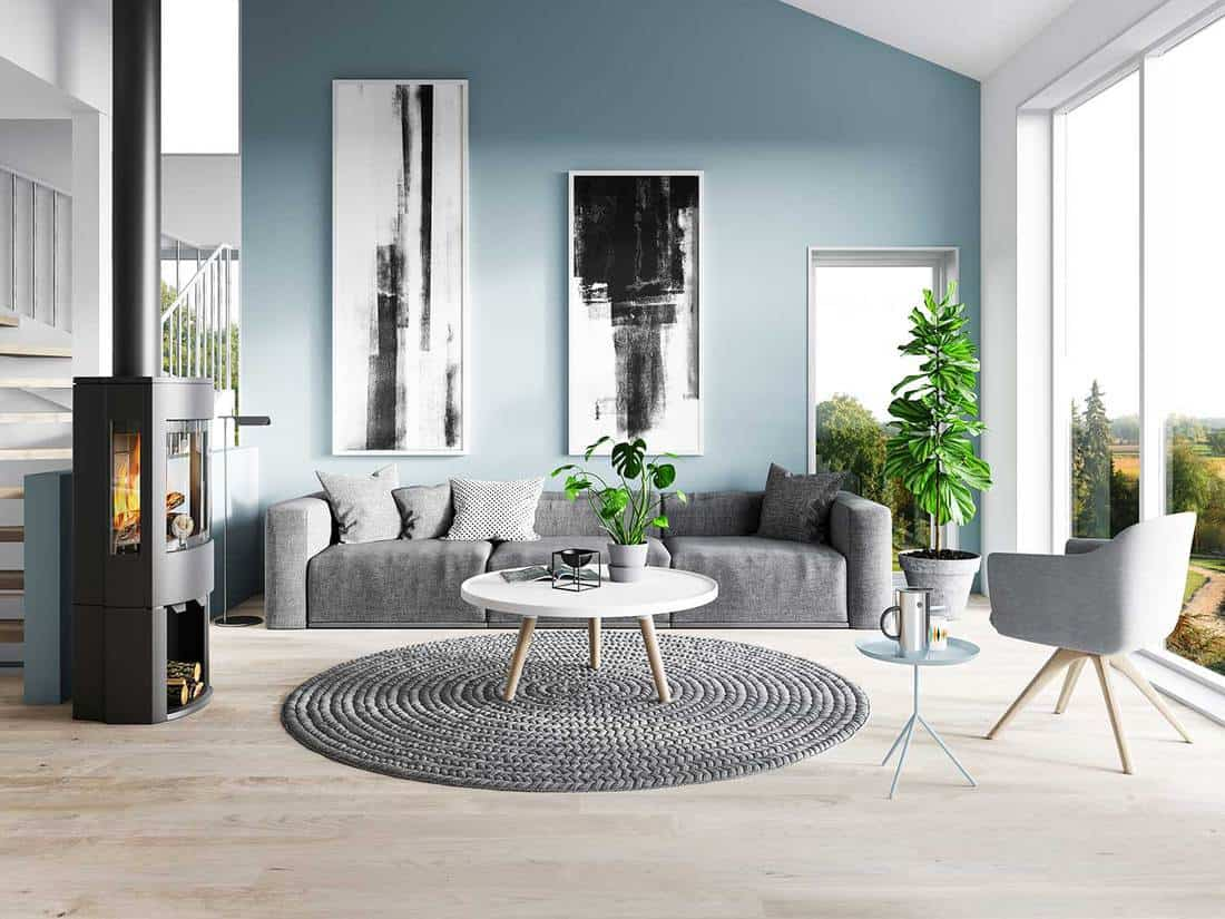 Modern living room with gray sofa, fireplace and carpet rug