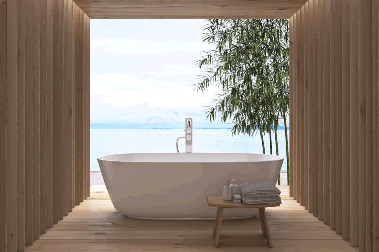 Modern luxury bathroom interior. Bathtub with a view (freestanding bathtub next to windows), 21 Awesome Bathtub Ideas To Check Out