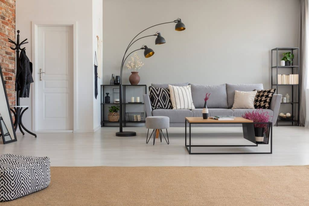 Pouf on carpet in spacious flat interior with lamp next to grey sofa and wooden table