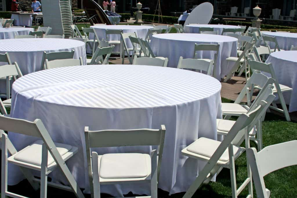 Tablecloths on the reception area of a wedding