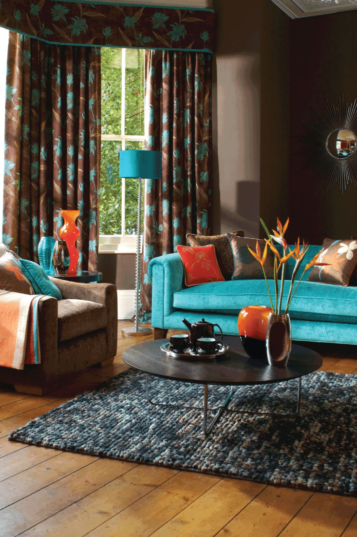 Traditionally decorated house with turquoise and brown interior.