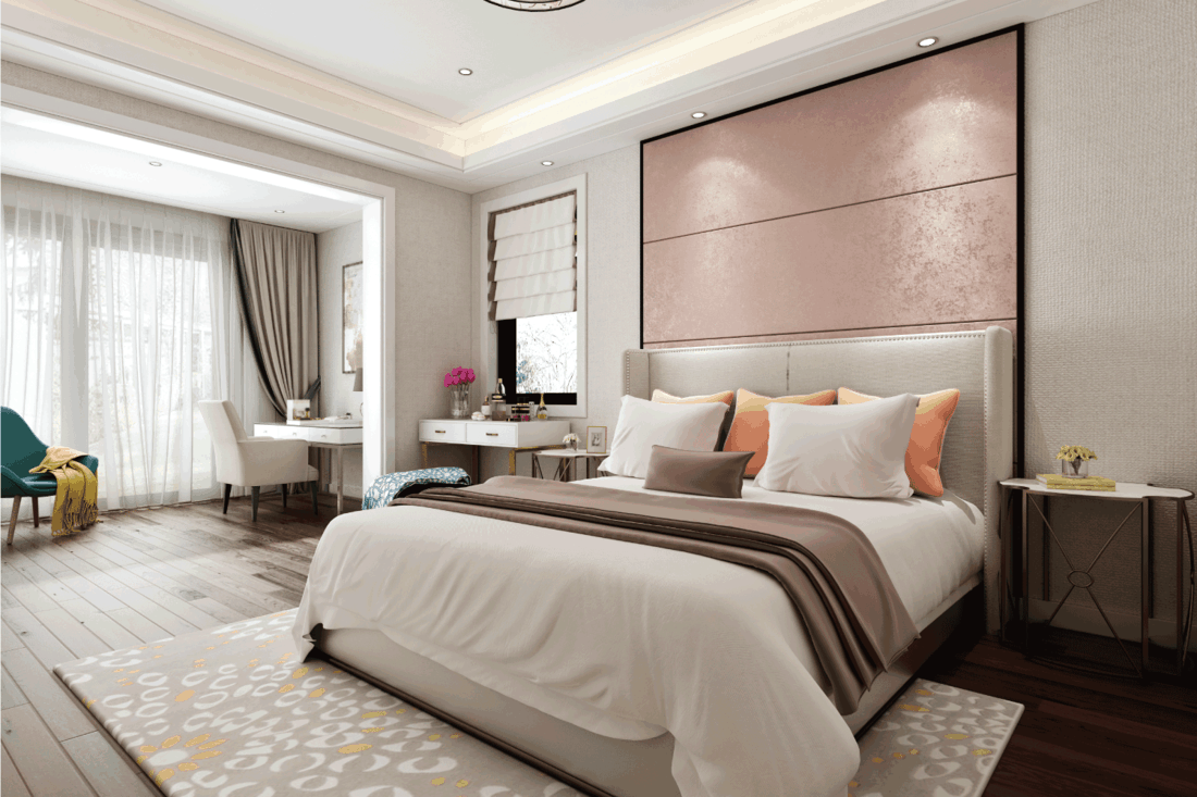 bedroom concept that has plenty of lighting both ambient and recessed lighting, light brown color concept