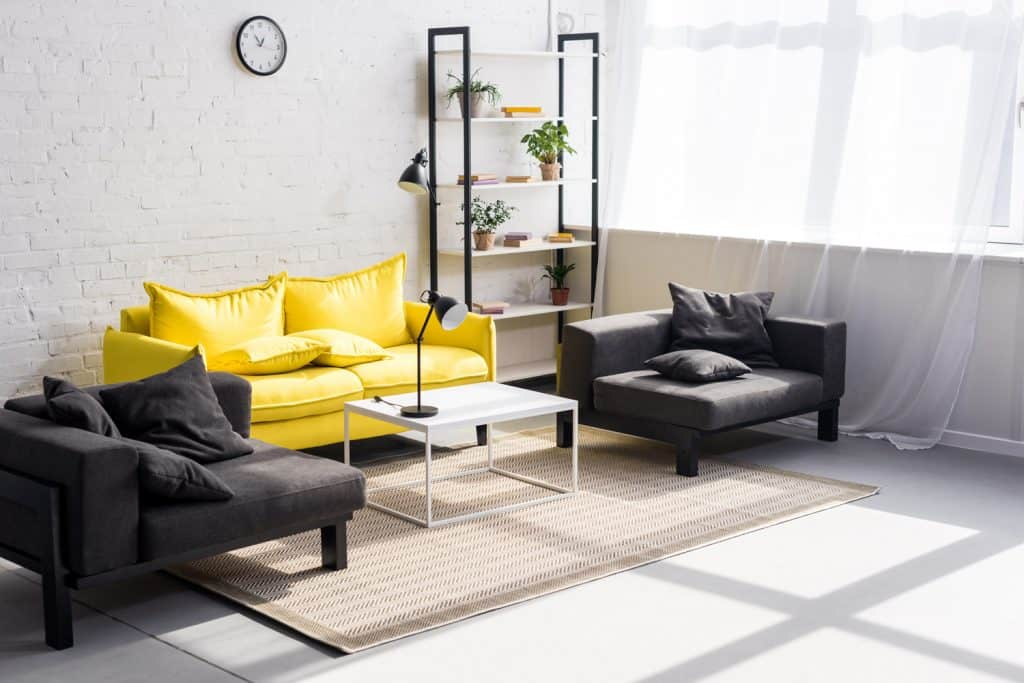 cozy living room with a pop of color