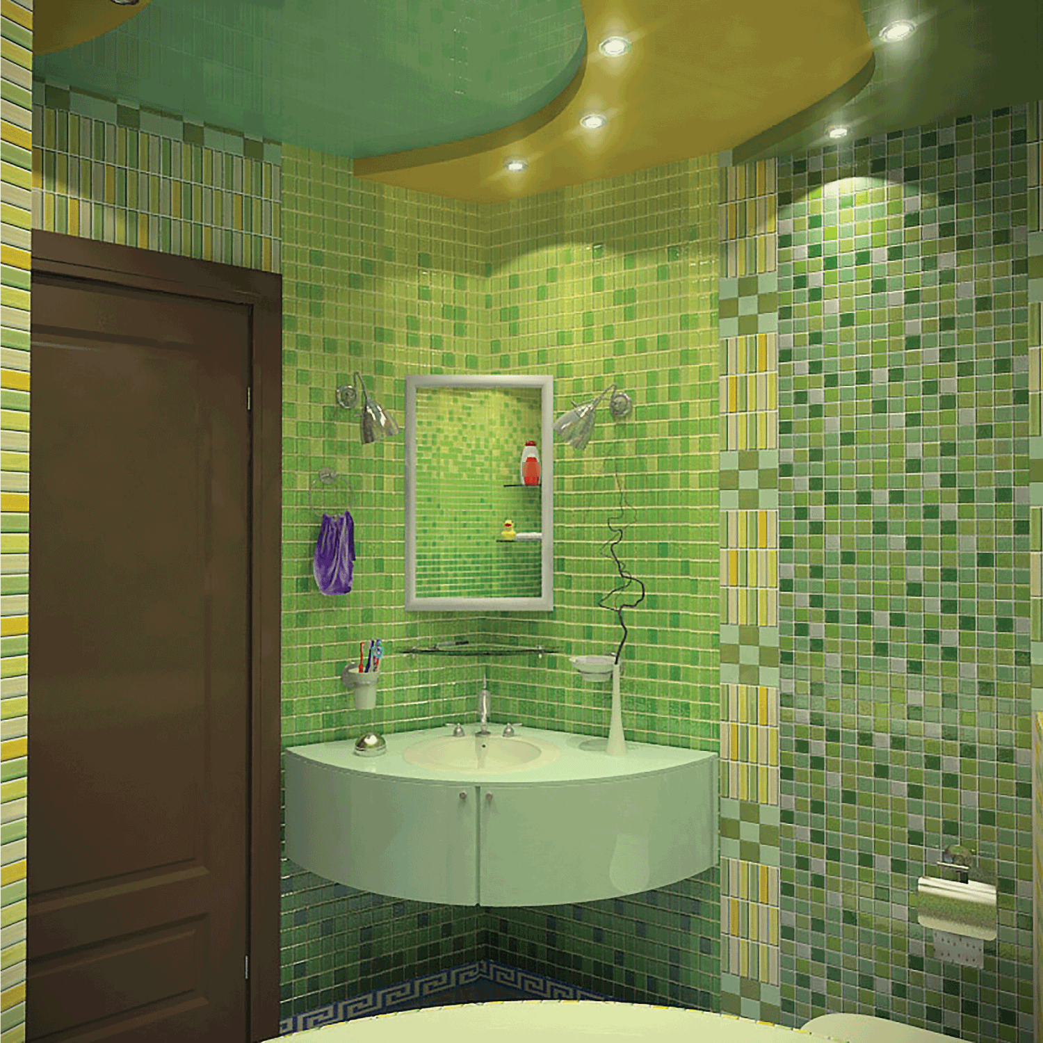 green bathroom tiles with small corner vanity and recessed lighting