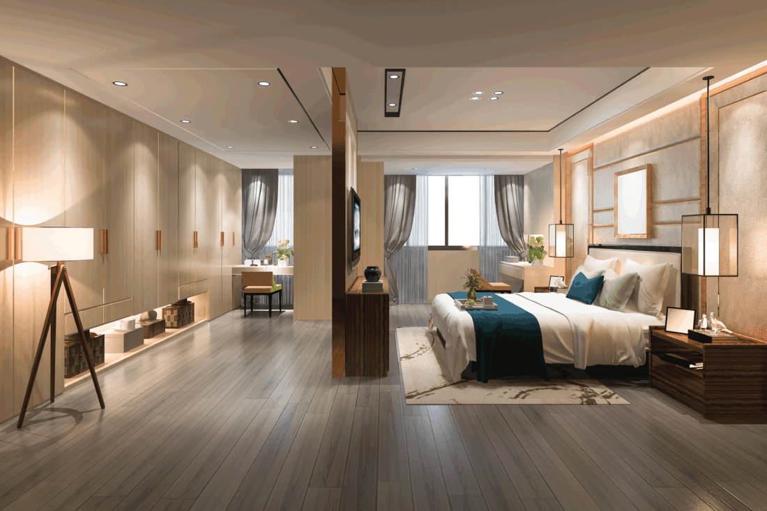 luxury modern bedroom suite tv with wardrobe and walk in closet